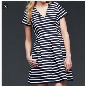 Gap Fit and Flare Dress-Navy white stripes